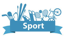 Sports and game equipment on a blue ribbon Royalty Free Stock Image