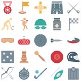 Sports and Game Isolated Vector Icons consists medal, hockey, gamepad, flag and many more, Special usage for Sports projects. vector illustration