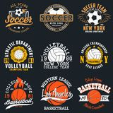 Sports game typography - soccer, volleyball and basketball. Set of athletic print for t-shirt design. Graphics for sport apparel. Collection of tee shirt badge stock illustration