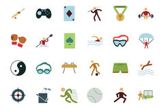 Sports and Games Colored Icons 3 Royalty Free Stock Images