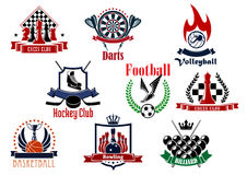 Sports games emblems, icons and symbols. Sport game icons or emblems with football or soccer, chess, volleyball, ice hockey, darts, basketball, bowling and Stock Photography
