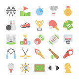 Sports and Games Flat Colored Icons stock illustration