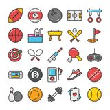 Sports and Games Flat Vector Icons Set 1 Stock Images