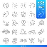 Sports and games high quality trendy line icons. Vector. Sports and games high quality trendy black line icons. Vector illustration stock illustration