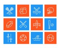 Sports and games icons, linear style. Eps 10 file, easy to edit Royalty Free Stock Photo