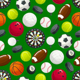 Sports gaming ball items seamless pattern Royalty Free Stock Photos