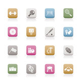 Sports gear and tools. Icon set Stock Images