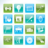 Sports gear and tools icons. Icon set Stock Image