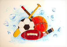 Sports Gear on a wall tile Royalty Free Stock Photography