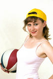 Sports girl with ball Royalty Free Stock Images