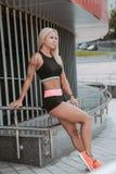 Sports girl blonde royalty free stock photo