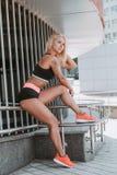 Sports girl blonde stock image