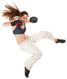 Sports girl with boxing gloves Royalty Free Stock Images