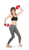 Sports girl with boxing gloves Stock Photo