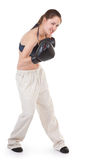 Sports girl with boxing gloves Royalty Free Stock Photos