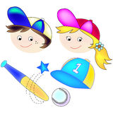Sports Girl and boy. Baseball team for a girl or boy this illustration contains graphics for a baseball bat , a baseball , a girl sports player and a boy sports Stock Images