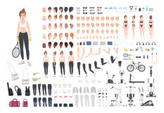 Sports girl character constructor. Fitness woman creation set. Different postures, hairstyle, face, legs, hands. Equipment, clothes collection. Vector cartoon Stock Image