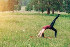 Sports girl doing exercises in the woods, on the field, Park. Yoga, sports royalty free stock images