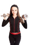 Sports girl with dumbbells Stock Photography