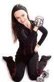 Sports girl with dumbbells stock photos