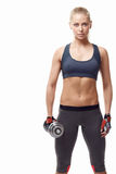 Sports girl. With dumbbells on a white background Stock Photography