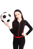 Sports girl with a football Stock Photography