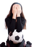 Sports girl with a football Stock Photos