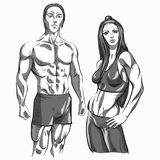 Sports girl and guy. Healthy and beautiful Royalty Free Stock Photos