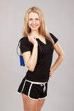 Sports girl holding a rope Royalty Free Stock Photo