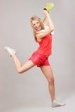 Sports girl joyfully jumps Royalty Free Stock Images