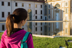 Sports girl in Monza`s villa reale Royalty Free Stock Photo