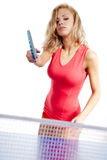 Sports girl plays table tennis Royalty Free Stock Images