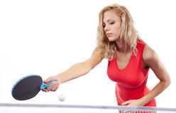 Sports girl plays table tennis Stock Photography