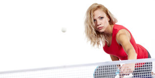 Sports girl plays table tennis Royalty Free Stock Photos