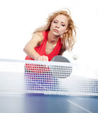 Sports girl plays table tennis Royalty Free Stock Photography