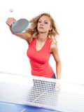 Sports girl plays table tennis Stock Photos
