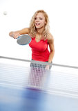 Sports girl plays table tennis Stock Image