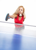 Sports girl plays table tennis Stock Images