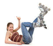 Sports girl with roller skates Royalty Free Stock Photo