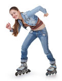Sports girl with roller skates Stock Images