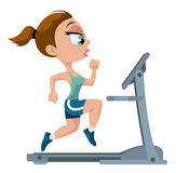 Sports girl running on treadmill. Fitness. Sports girl running on treadmill. Cartoon styled vector illustration. Elements is grouped for easy edit. No Royalty Free Stock Photo