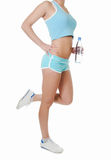 The sports girl in shorts Royalty Free Stock Photography