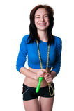 Sports girl with skipping rope Royalty Free Stock Image