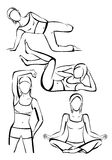 Sports girls. Silhouettes of girls sports. Good advertising for fitness, yoga, aerobics, etc Stock Images