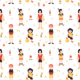 Sports girls (box, skateboarding, football, volleyball) minimalistic cartoon style vector seamless pattern Stock Photo