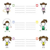 Sports Girls Cartoon And Frame Text Vector Illustration Stock Images