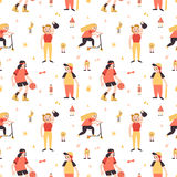 Sports girls minimalistic cartoon style vector seamless pattern Royalty Free Stock Photos