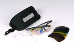 Sports glasses. In a white background Royalty Free Stock Photography
