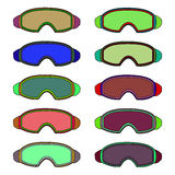 Sports glasses of different colors. Raster. Stock Image