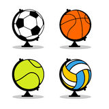 Sports Globe set. Balls in Earth sphere. Basketball and football. Tennis and volleyball. Planet Sports. World game Stock Images